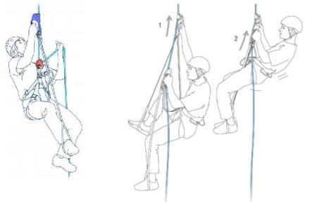 Escalar subir por las cuerdas con dos autobloqueantes