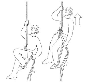 Escalar subir por las cuerdas con un autobloqueante